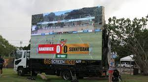 Big screen truck for entertaining large audiences in all weather conditions